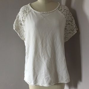 Anthropologie Dylan Ivory Lace Back Top Size M